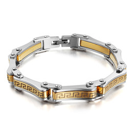 Miraculous Hiphop Gift Style The Great Wall design Silver And Gold Two Tone Stainless steel Link Chain Bracelet Men's Jewelry 8.66''