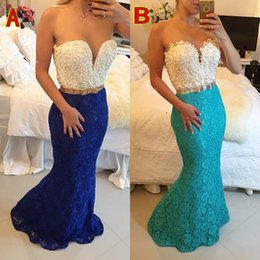 White and Blue Mermaid Long Evening Dresses Sexy Heavy Pearls Beaded Formal Dresses Run Way Dresses V-Neck Sheer Formal Gowns sh0012