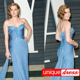 Wholesale 2015 Oscars Amy Adams Exquisite Charming Evening Dresses A Line Sweetheart Court Train Crystal Rhinestone Beaded Chiffon Party Dresses