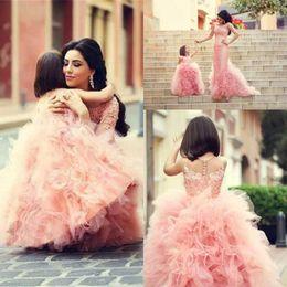 2015 New Cheap Beautiful Flower Girls' Dresses Beautiful Pink Girls Pageant Dresses For Wedding Cascading Ruffles Tulle
