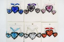 Necklaces earrings sents Lots Fashion jewelry 3D flower heart Italian handmade murano glass pendant necklace earrings