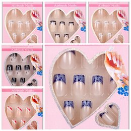 Wholesale-24 x Design False Nails French Full Nail Art display faux ongles Tips free glue