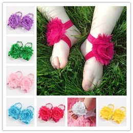 Wholesale 1pair Newborn baby flower barefoot sandal sets shabby chiffon flower footwear for Photography props Baby First Walker