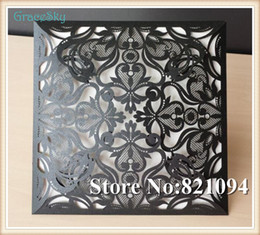 50PCS lot Laser Cut Lace Flowers Folded Design Paper Wedding Gathering Party Invitation Card with Inner Paper Blank Sheet Free shipping