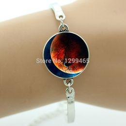 Wholesale Hot sale trendy bracelet for men vintage Glass tile nebula galaxy space picture charm bracelet antique silver bracelet OY