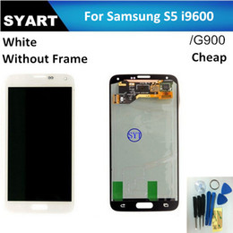 Wholesale-White Color Original S5 LCD Display Touch Screen Digitizer assembly Without Frame For Samsung S5 i9600