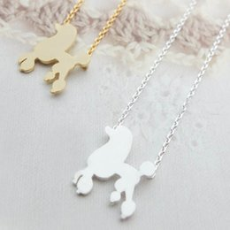 Wholesale 2015 Fashion silver plating animal necklace pet dog A poodle dog necklaces for women and mixed color