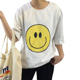 2016 New Summer T-shirts for Women Smile Face Printed Cute Loose Women T Shirt Short sleeve Tops Tee Casual camisetas mujer