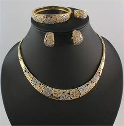 New African 18K Gold Plated Statement Necklace Earrings Bangle Ring Brides Bride And Bridesmaids Wedding Jewelry Sets