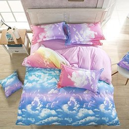 Wholesale-Rainbow Cloud Prints Duvet Cover Set bed Linens bed Sheet Sets bedclothes bedding Sets bed Sets(Twin, 4pcs without comforter)