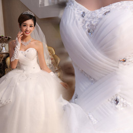 New Romantic Ball Gown Sweetheart Crystal Floor-length Tulle Stain Wedding Dress 2015 Custom Made Bridal Gowns