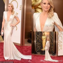 Kate Hudson Mermaid Evening Gowns Cap V neck Backless Satin 86th Oscar Celebrity Red Carpet Dresses 2016 Formal Dresses Evening DL10864