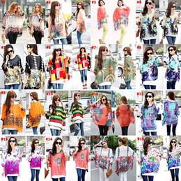 2015 nouvelles femmes de mode d'été de mousseline de soie de batwing de douille d'impression florale de chemises minces de dessus longs L, XL de polo Livraison gratuite à partir de imprimé floral t-shirts femmes fabricateur