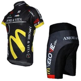 Wholesale variety of styles Amore Vita McDonald s short sleeved cycling jersey and shorts set strap riding a bicycle cheap sports wear