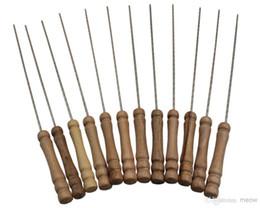 BBQ Wooden Handle 12pcs set Roasting Needle Protable Outdoor Picnic Metal iron Barbeque Skewers BBQ Kebab Sticks 31cm