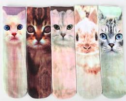 41 colors 2015 new arrival fashion socks harajuku 3d printed animals unisex kids knee high socks Kitty Cat socks bulldog socks in stock