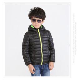 Hooded Jackets 2016 Black Children's Outwear Boys Down Jacket 4pcs lot Solid Hooded Coat Kids Parkas Kids Cotton-padded jacket