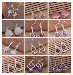 Mixed order 12pair   lot 925 Sterling silver jewelry Crystal Dangle Earrings fashion party sexy woman Top quality for free shipping