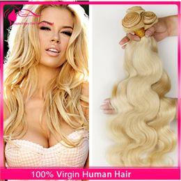 7A European Blonde Virgin Hair Weaves 3 Bundles 100% Unprocessed Russian Virgin Hair Body Wave 613 Platinum Blonde Human Hair Extensions