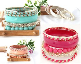 Wholesale 2015 Baby Blue Bracelets Metal Candy Color Multilayer Girls Party Bracelets Cheap Beading Bangle All Match Bracelets