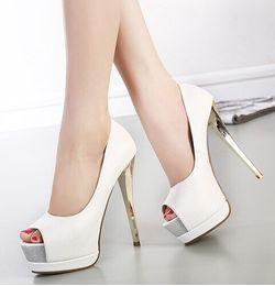 Wholesale Elegant wedding bridal shoes pumps CM sexy high heels peep toe white shoes size to