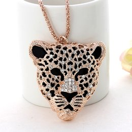 Wholesale Leopard Head Sweater - Wholesale-Korean jewelry flash explosion models classic diamond leopard head sweater chain length necklace for Women 2015 New