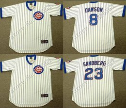 Wholesale Cheap Chicago Cubs MARK GRACE ANDRE DAWSON RYNE SANDBERG Home throwback Baseball Jersey stitched S XL