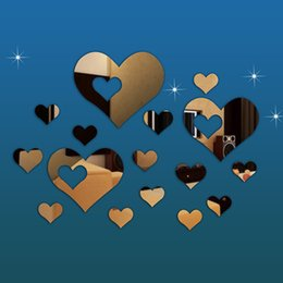 Wholesale 2016 new Fashion Mirror Style Decal Wall Sticker Home Decor Mirror Style Heart Decal DIY fashion Home Decorative Items Mirrors