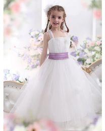 White Flower Girl Dresses for Wedding Event A Line Spagheet Sleeveless Ankle Length Purple Ribbon girls birthday princess dresses