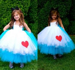 2016 красные синие цветы Pretty Pageant Платья для девочек Белый синий Tulle Hunter Принцесса Цветок девочки платья Красное сердце Причастие платье Детские платья девушки цветка красные синие цветы продаж