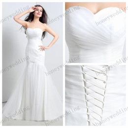 2019 Actual Images Wedding Dresses Stock Sweetheart Pleated Tulle Mermaid Wedding Dress Sweep Train Bridal Gowns Bridesmaid Dresses Cheap