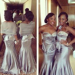Silver Mermaid Bridesmaid Dresses Sweetheart Neck Satin with Beads Peplum Stylish Maid of Honor Evening Gowns 2016 Nigerian