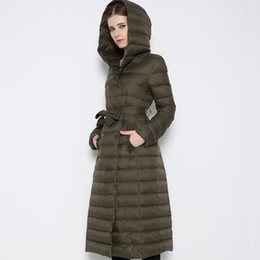 Wholesale new Down female high end European and American big knee ultra thin lengthen paragraph Slim Down hooded coat big yards