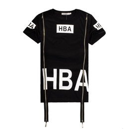 Wholesale 2016 Men Fashion Hip Hop T Shirt Zipper Side HBA Hood By Air Harajuku t shirts for men Spinal Cord X ray Streetwear Tees