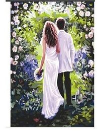 Frameless Digital oil painting diy 40x50 paint by number kits acrylic painting paint by number Happy life