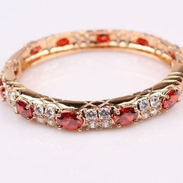New 24k Yellow gold Filled Red Austrian Crystal Zircon women's bangle Dia 2.17inches