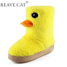 Botas para la nieve pato mujeres en venta-Nueva llegada 2015 botas de las señoras del otoño invierno del tobillo de la mujer botas de nieve dulce manera de la historieta del pato amarillo Chica caliente precioso Venta en
