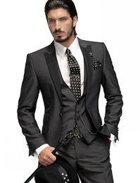 Wholesale Slim Fit One Button Groom Tuxedos Charcoal Grey Best Man Peak Black Lapel Groomsmen Men Wedding Suits Bridegroom Jacket Pants Tie Vest H751