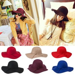 Wholesale-2015 New Fashion Soft Ladies Vintage Retro Wide Brim Wool Felt Bowler Women Winter Fedora Hat