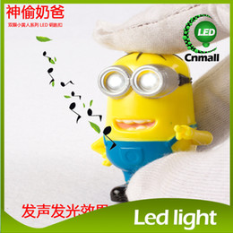 Wholesale Despicable Me Light Cute Minion LED Keychain Key Chain Ring Flashlight Torch Sound Toy Promotion Novelty Gift Lover Children Christmas Gift