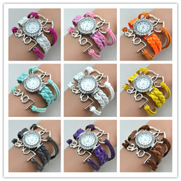Infinity Watches Weave Bracelet Watches Lady Wrap Watches Love Double Heart Leather Wrist Watches Women Quartz Watches Mix Color