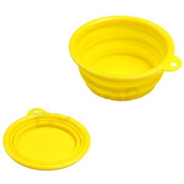 Wholesale-Hot Sale 2015 NEW Fashion Dog Cat Portable Silicone Collapsible Convenient Feeding Bowl Water Dish Feeder