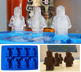 Wholesale Candy Tubs - Factoy price Figurine Ice Mold Robot Trays Cube Stylus Silicone Lego Man Style Chocolate Candy Soap Candle Jello Crayons Shaped Lattice