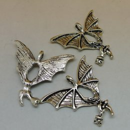 Wholesale 50pcs mm vintage antique silver tone zinc alloy Bats charms diy vintage jewelry