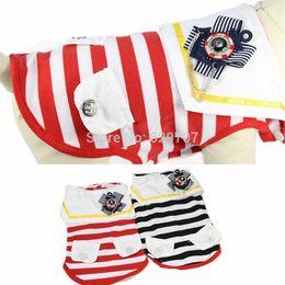 Descuento fuentes del perro muelles Armada estrenar Cotton Stripe Chaleco Apperal ropa para perros Soft camiseta Suministros Primavera Otoño Ropa para mascotas