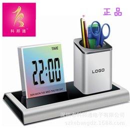 Wholesale 288A Multifunction Colorful Pen Pen alarm clock Office Supplies meter screen color when the pen holder creative push