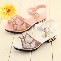 2015 summer new peep toe kids sandals girls sandals fashion glitter princess sandals for girls shoes