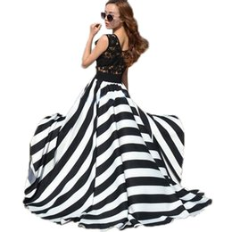 Wholesale Stripe See Through Dresses - Vestidos 2016 Women Summer Hollow Out Stripe Sleeveless O-neck Lace Patchwork See Through Boho Beach Long Maxi Party Dresses
