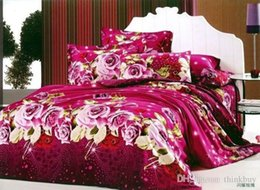 Wholesale Hot Beautiful PC COTTON COMFORTER DUVET COVER SET QUEEN SIZE bedding set red Roses love song