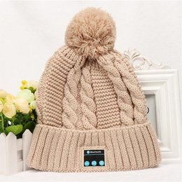 Wholesale 2016 hot Bluetooth music hat soft warm hats Warm wool hat handsfree headphone cap Autumn and winter knitting wool hat Newest colors